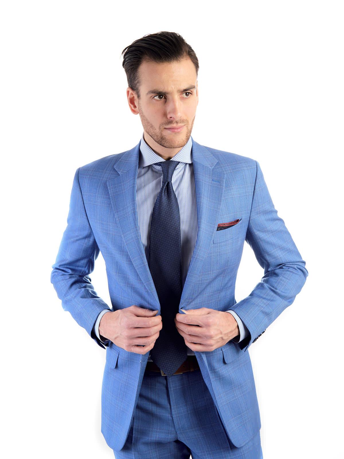 aa8d42f2e423e Niebieski garnitur męski w błękitną i brązową kratę szyty na miarę |  MMSUITS.PL