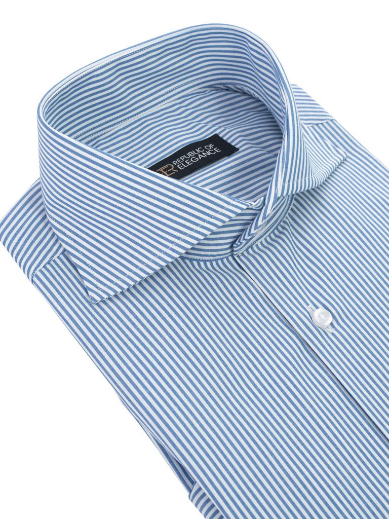 Biała koszula męska w niebieski prążek candy stripe szyta na  GC1DZ