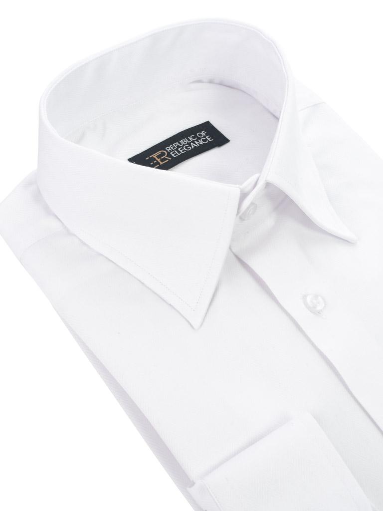 b85ade736364e4 Biała koszula do muchy na spinki męska szyta na miarę 65% bawełna |  MMSUITS.PL